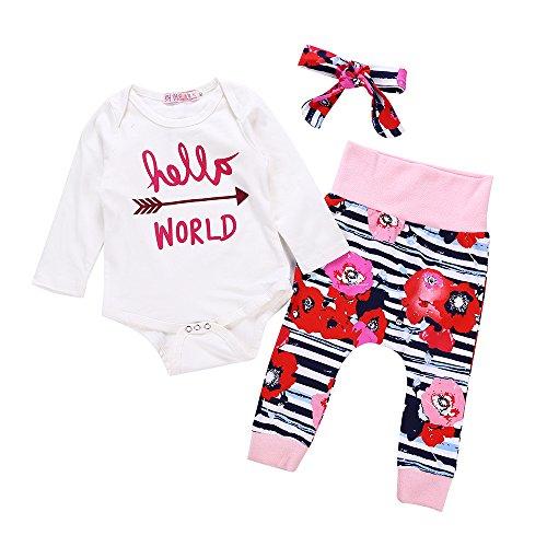 Infant Toddler Baby Girl Clothes Little Sister Newborn Bodysuit Outfits Romper Tops+ Floral Legging Pant Sets + Headbands