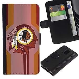EJOY---Tirón de la caja Cartera de cuero con ranuras para tarjetas / Samsung Galaxy S5 V SM-G900 / --Indian Halcón Negro Fútbol