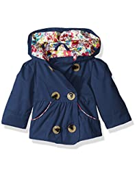 Pink Platinum Baby Girls Emma Spring Jacket Double Breasted Trench Coat, Navy, 12 Months