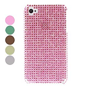 Solid Color Rhinestone Hard Case for iPhone 4/4S (Assorted Colors) , White