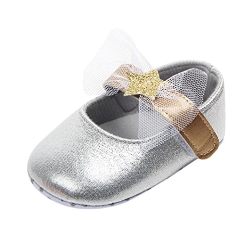 (Voberry Baby Girls Soft Soled Butterfly Crib Canvas Mary Jane Shoes (3~6 Month, Silver))