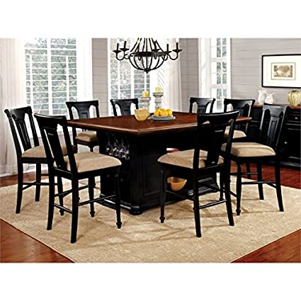Furniture of America Hendrix 9 Piece Counter Height Dining Set  sc 1 st  Amazon.com & Amazon.com: Furniture of America Hendrix 9 Piece Counter Height ...