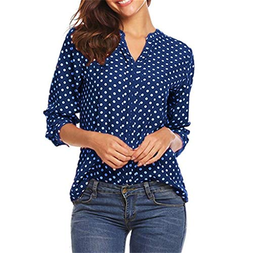 Lovor Women's Henley Shirts Polka Dot Print 3/4 Sleeve V-Neck Tops Blouse Casual Office Tunics(Blue,XL