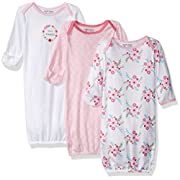 Luvable Friends Unisex 3 Pack Cotton Gown, Pink Floral, 0-6 Months