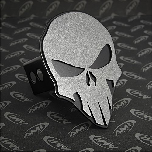 All Sales 1042AMK Ami Skull Style Anthracite on Black Hitch Cover ()