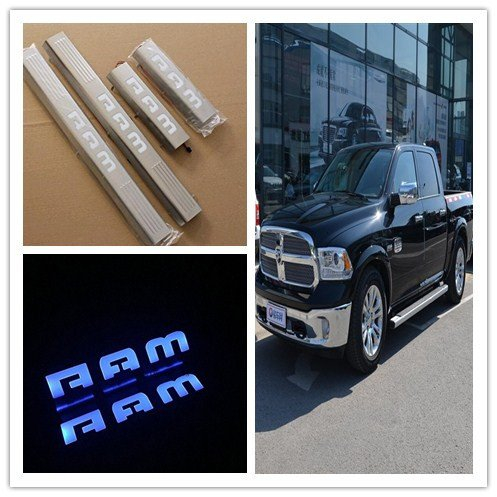 Entry Door Steel Stainless Plates (Highitem 4PCS Silver Interior Door Sill Entry Guard Scuff Plate Stainless Steel Led Light For DODGE RAM 1500 2500)