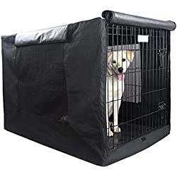 """Petsfit Black Polyester Crate Cover for 42"""" Wire Crate, 42"""" Lx28 Wx30 H One Door"""
