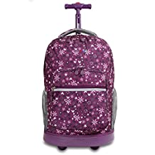 J World New York Sunrise Rolling Backpack, Garden Purple, One Size