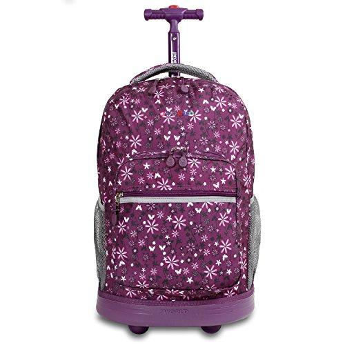 J World New York Sunrise Rolling Backpack, Garden Purple, One Size (Rolling Backpacks)