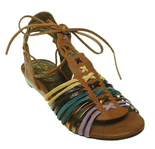 Very Volatile Womens Lollipop Sandal Brown Multi 7 B M