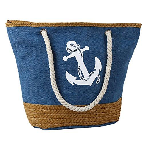THEE Mujer Bolsos Bandolera de Playa Azul Marino Bolsa de Lienzo Azul
