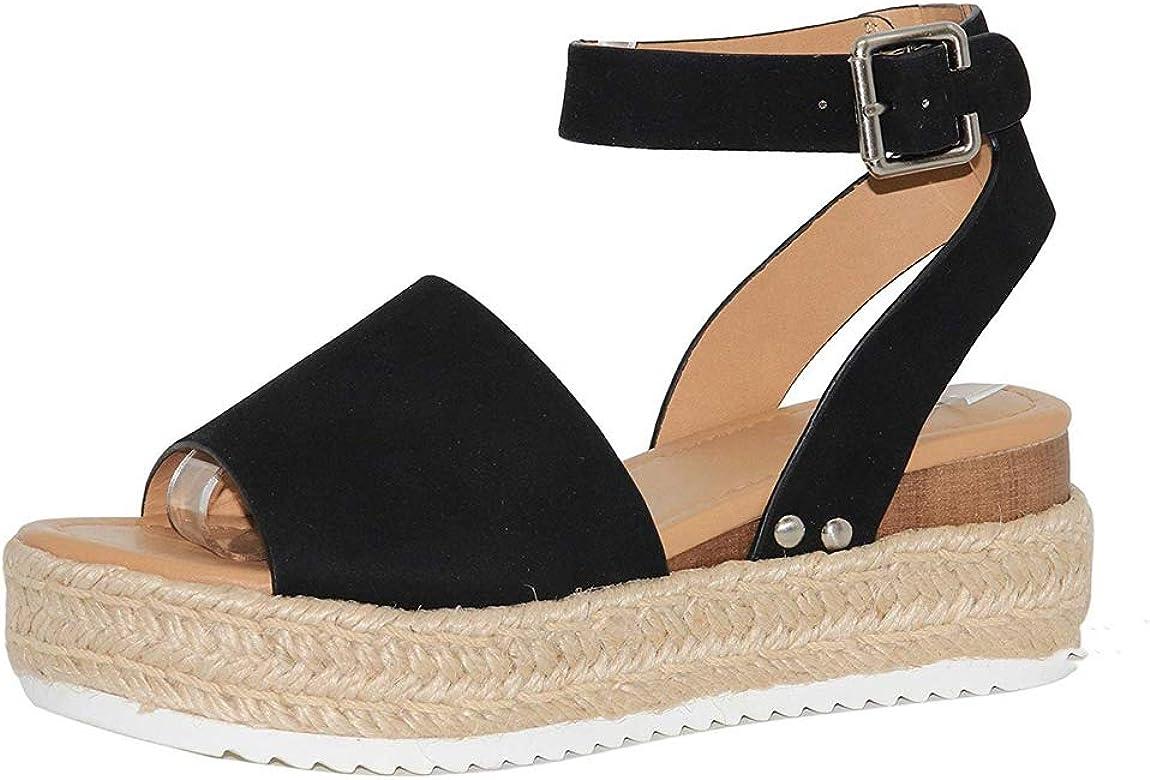 91ef896a1ba44 Women's Casual Adjustable Ankle Strap Open Toe Sandals Espadrille Platform  Wedge Sandals