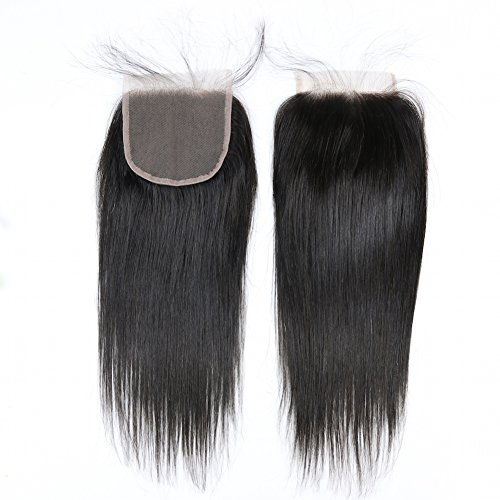 """Formal Hair® Brazilian Virgin Hair Lace Closure Straight Hair Free Part Bleached Knots 4""""x4"""" Inch Natural Color Size 10inch"""