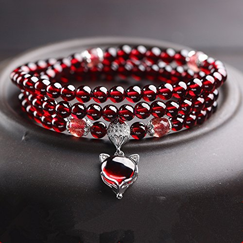 Master Hand sanding red Natural Garnet bracelet Three ring with 925sliver