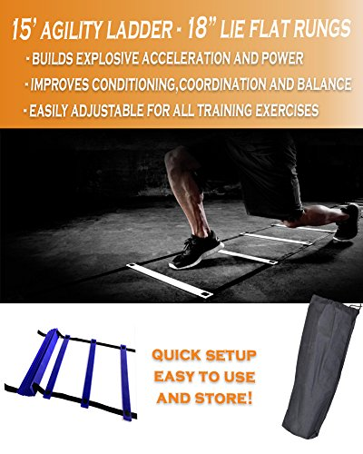 "Premium Quality 12 Rung Agility Ladder and 56"" Speed Resistance Chute Explosive Workout Training Set Made by Optimal Fitness Solutions"