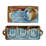 Stoneware 3-Piece Appetizer Serving Set, Handmade Pottery Made in the USA, Earthy Blue Color