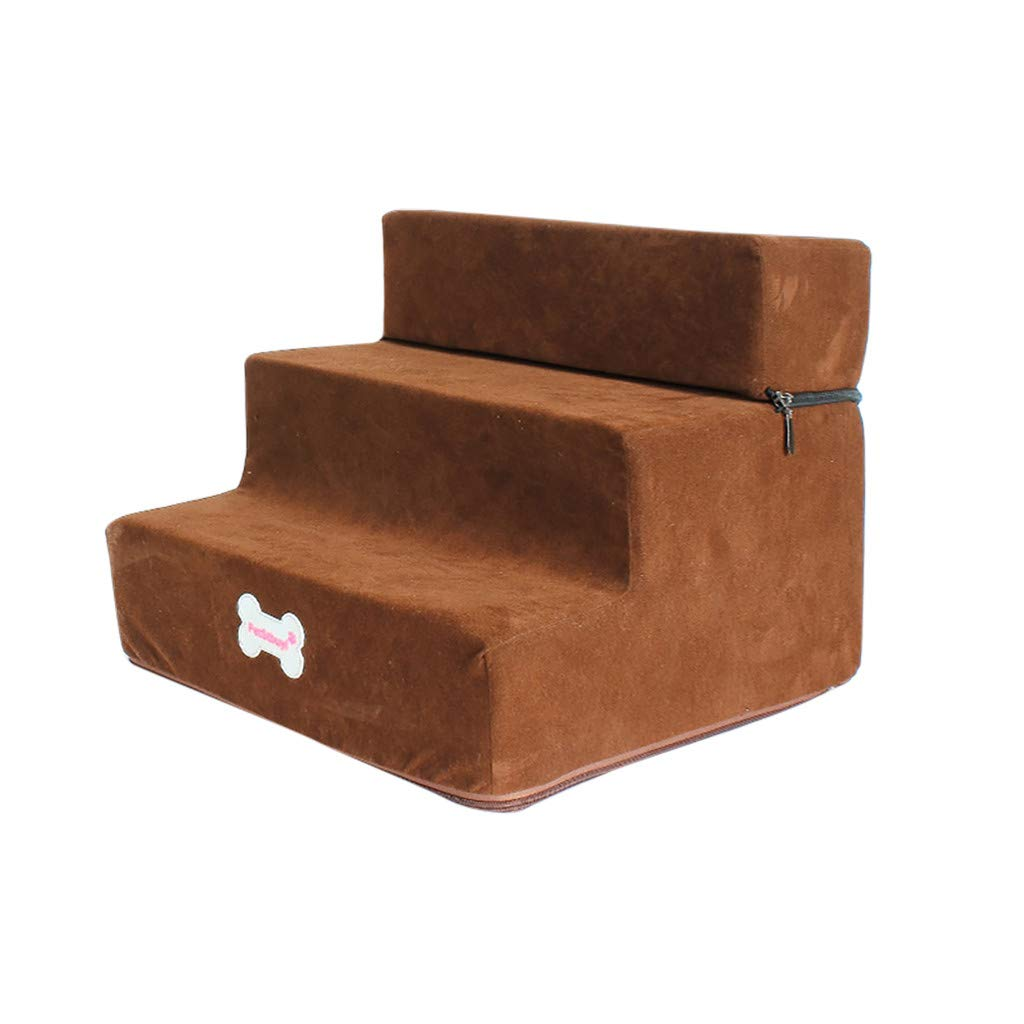 Non-Slip Bottom Pet Bed Cat Dog Ramp 3 Steps, Removable Washable Carpet Tread Pet Stairs Cover_Conwinart_Brown by Conwinart_ Pet Stairs/Steps