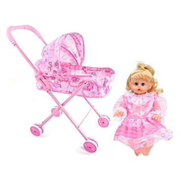 Amazon.com : Baby Doll Stroller with Doll, Cute Pink Doll Stroller Toy Trolley for Baby, Foldable with Adjustable Hood for Toddlers Kids Girls Aged About 3 ...