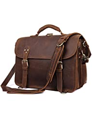 Texbo Men's Thick Cowhide Leather Messenger Bag, 16.5' Laptop Briefcase