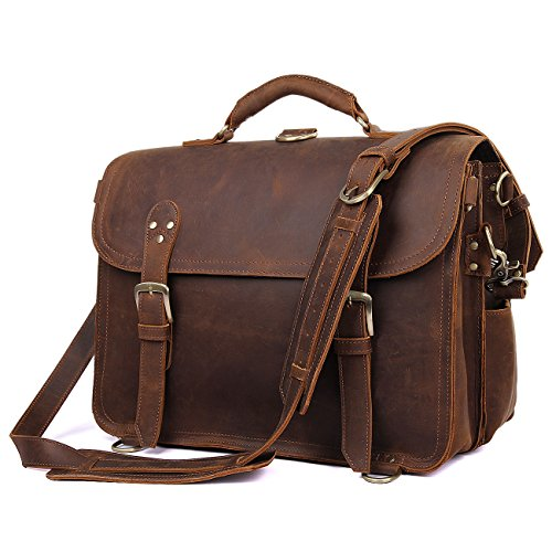 Texbo Men's Thick Cowhide Leather Messenger Bag, 16.5'' Laptop Briefcase by Texbo