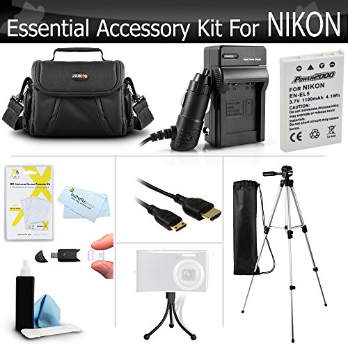 Essential Accessory Kit For Nikon COOLPIX P100 P500 P510 P520 P530 Digital Camera Includes Extended (1100Mah) Replacement Nikon EN-EL5 Battery + AC/DC Charger + Case + Mini HDMI Cable + Tripod + More