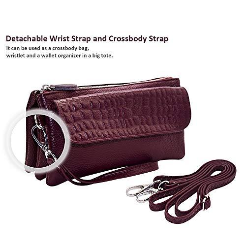 Shoulder Strap Fuchsia with Strap Wallet Wrist Befen Smartphone Wristlet Card Crossbody Leather Slots Clutch xvCFwzq