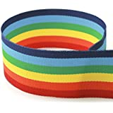 "3/8"" Rainbow Striped Grosgrain Ribbon - 100 Yards - USA Made - (Multiple Widths & Yardages Available)"