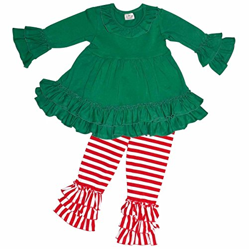 Unique Baby Girls Christmas Little Elf Ruffled Winter Outfit (2T/XS, Green)