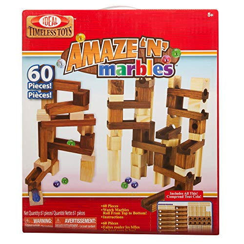 Ideal Amaze 'N' Marbles 60 Piece Classic Wood Construction Set