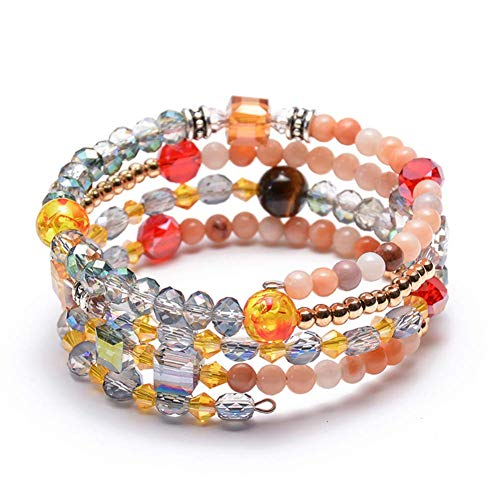 ISAACSONG.DESIGN Crystal Beaded Wrap Bangle Bracelets for Women, Bohemian Multilayer Stone Stackable Strand Charm Bracelets - Summer/Yoga/Beach (Brown Tiger Eye & Colorful Crystal Beaded)