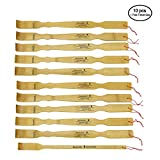 BambooMN 10 Pieces 17'' Logo Bamboo Wooden Back Scratchers plus Free Travel Size Backscatcher