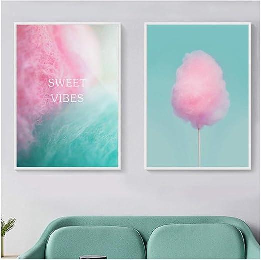 Decoración nórdica hogar dibujos animados dulces vibraciones algodón de azúcar lienzo pintura modular pared cuadros para bebé niños habitación decoración-40x60x2 piezas cm sin marco: Amazon.es: Bricolaje y herramientas