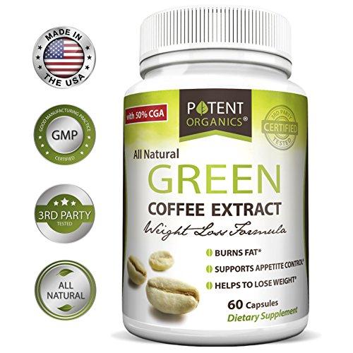 Potent Organics 100% Pure Green Coffee Bean Extract: Standardized To 50% Chlorogenic Acid – Green Coffee Beans – 800mg, 60 capsules (1 per serving) – Organic Green Bean Coffee Extract by Potent Organics
