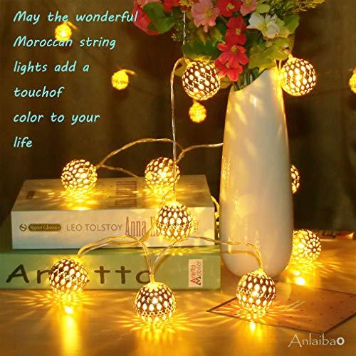 Anlaibao - Cadena de luces de globo, 17 pies y 30 LED, gran bola de metal dorado, enchufe USB y modo de alimentación dual con pilas, luces de hadas marroquíes doradas para dormitorio, jardín, fiesta, decoración del árbol de Navidad, blanco cálido