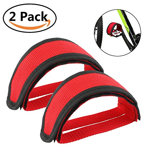 justable Bicycle Feet Pedal Straps Tongshop Nylon Pedals Toe Clips Straps Tape for Fixed Gear Bike, Exercise Bike Pedal Straps for DIY Bike Enthusiasts (Red) ()