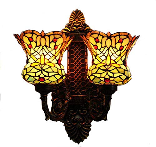 le Wall Lamp, Hand-Welded Stained Glass Double Head Wall Lights, Western Restaurant Cafe Restaurant Bar Retro Wall Lamp (Hand Carved Wood Chandelier Light)