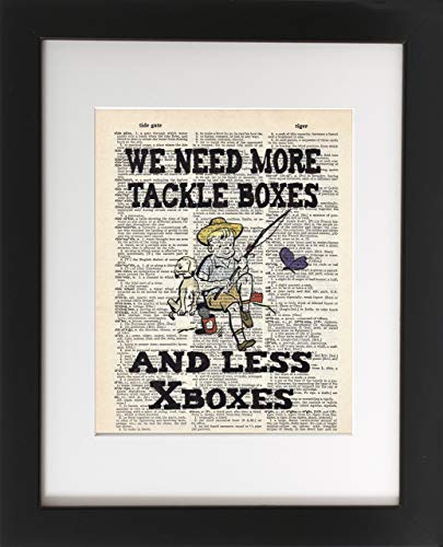 Tackle Boxes or Xboxes - Upcycled Dictionary Art Print 8x10 - Unframed - Frame and matting are for presentation purposes only to show you how they can look.
