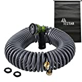 """YeStar Expandable Portable 50Ft Garden Coil Hose, 3/4"""" Solid Brass Fittings, Leak Proof Connector, Flexible Water Hose with 7-Pattern Spray Nozzle, Easy to Storage, Kink Free Compact and Durable"""