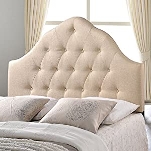 Modway Sovereign Tufted Button Linen Fabric Upholstered King Headboard in Beige