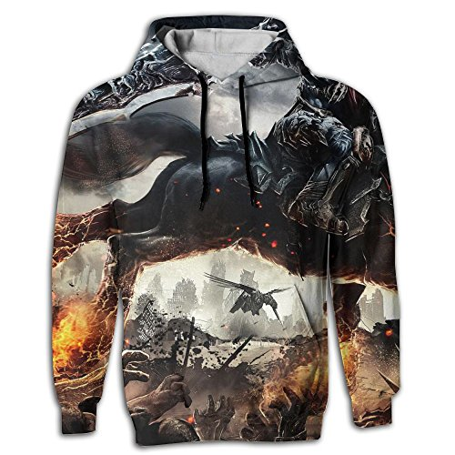 War Horse Pullover Pocket Full All Over Hooded Sweatshirt Spring For Outdoor Sports Breathable Sweater Hiking Fit Unisex M