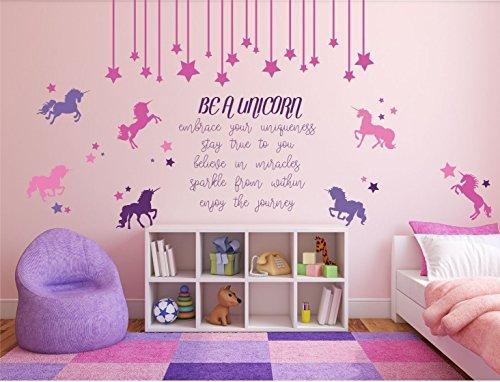 Unicorn Mural - Be a Unicorn Full Wall Mural Vinyl Girl's Bedroom Decor Nursery Teen