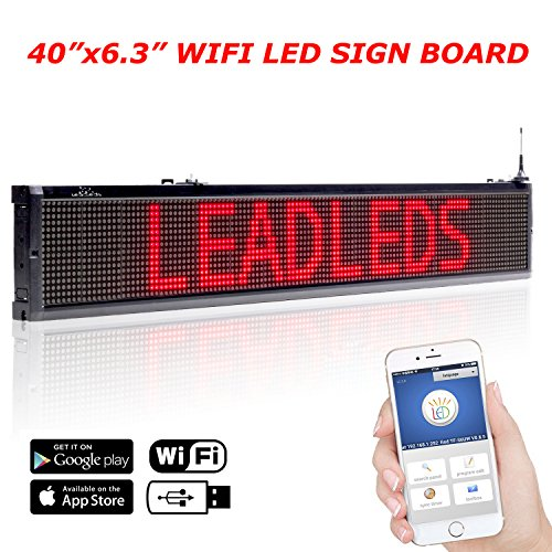 Leadleds 40x6.3 Inches Wifi Scrolling LED Sign Red Message Display Board, Storefront LED Sign Board for Business, Free App Working with Smartphone and Tablet (Board Wireless Pc Presentation)
