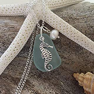 product image for Handmade in Hawaii, seafoam sea glass necklace, seahorse charm, Freshwater pearl, gift box, gift for her, sea glass jewelry,beach glass jewelry.