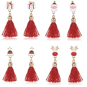 Christmas Drop Dangle Earrings Set - Women Girls Kids Thanksgiving Christmas Holiday Jewelry Gifts with Santa Claus Stockings Snowman Wreath Xmas Hat Snowflake Christmas Tree Jingle Bells (Red)