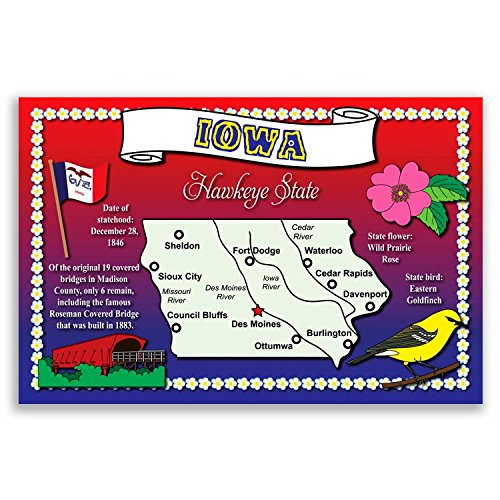 IOWA STATE MAP postcard set of 20 identical postcards. Post cards with IA map and state symbols. Made in USA.