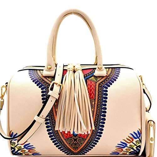 (Handbag Republic Dashiki Print, LARGE Boston Satchel w/Strap + Wallet (Beige))