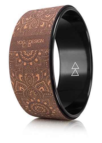THE YOGA WHEEL by YOGA DESIGN LAB | Eco Printed, Extra Strength, Natural Cork Dharma Wheel | Designed to Enhance Your Postures and Stretch Deeper | 12.6 x 5.1