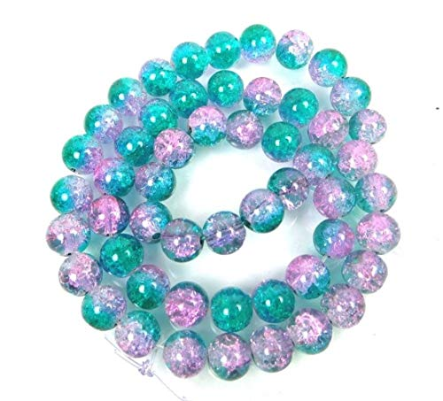 50 Pcs Czech Glass Crackle Cracked Round Beads Teal Pink 15.5