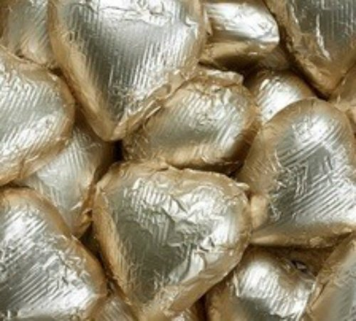 Gold Foiled Milk Chocolate Hearts 5LB Bag (five pound)