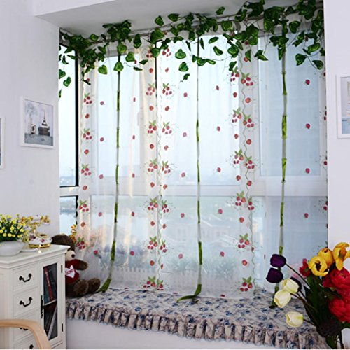 Bigban Curtain Panel Sheer Embroidere flower Tulle Finished Product Quality Window Screens (Strawberry)